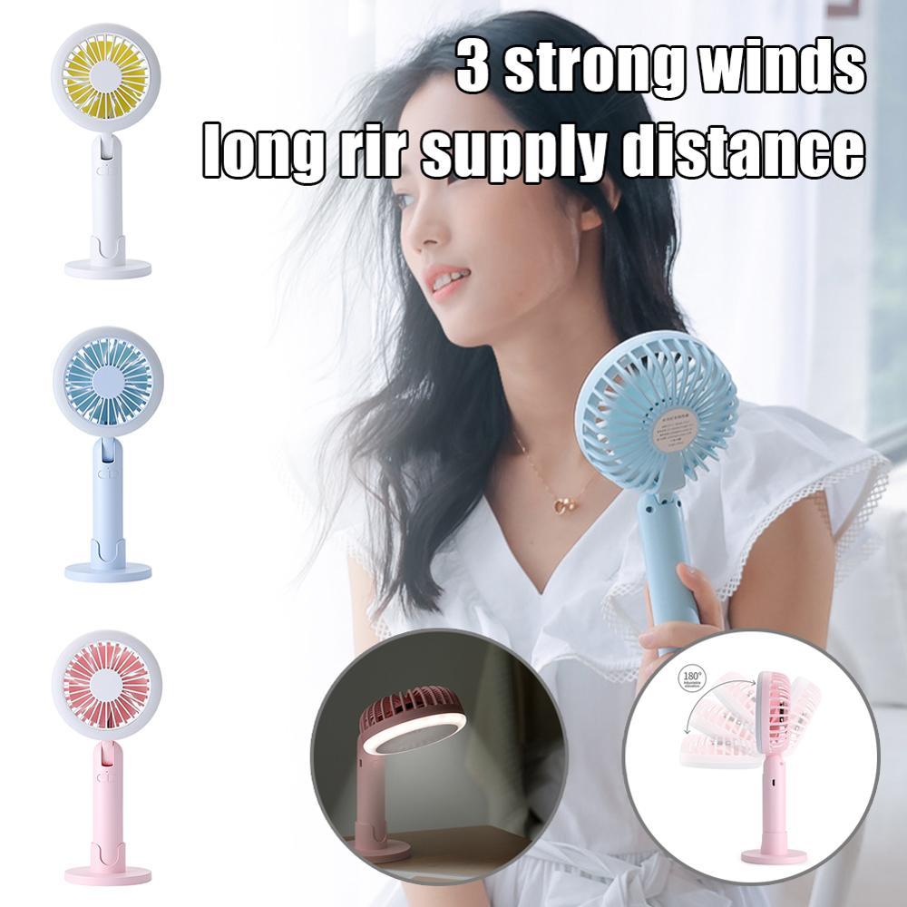 Mini ventilador de mano USB, ventilador de escritorio de mano recargable, Anillo de luz LED de ventilador de refrigeración ajustable de 3 velocidades con Base de soporte para teléfono