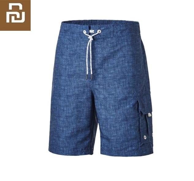 Youpin nova ferramenta masculina saco de praia calças soltas moda homem praia shorts secagem rápida repelente de água tecido