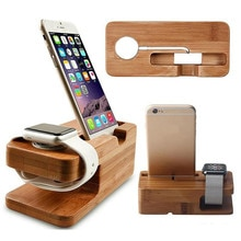 Wooden Charging Dock Station for Mobile Phone Holder Stand Bamboo Charger Stand Base For Apple Watch