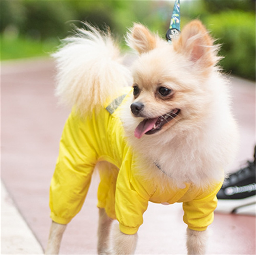 Outdoor Puppy Hooded Raincoat Pet Rainy Waking Harness Leash Jumpsuit Rain Jacket for Small Medium Dogs Windbreaker Cat Clothes
