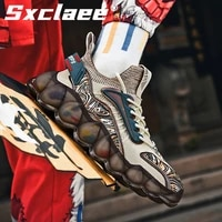 sxclaee fashionable tpu breathable fly woven men casual shoes outdoor non slip cushioning wear resistant male sports shoes