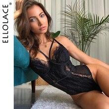 Ellolace dentelle noir Body femmes Sexy Transparent barboteuses Femme moulante corps Push Up salopette Femme Body pour les femmes
