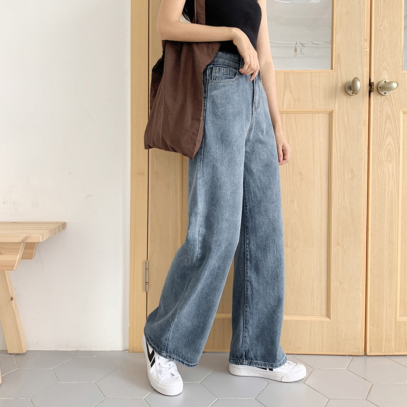High Waist Jeans for Women Spring/Summer 2021 New Loose Wide Leg Drooping Slimming All-Matching Stra