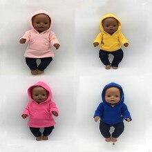 2021 Born New Baby Fit 17 Inch 43cm Doll Clothes Doll Hat One-piece Denim Sweater  Clothes Accessori