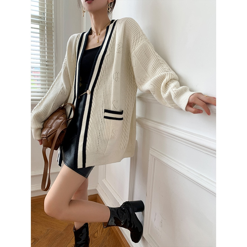 Womens Mid-Length Knitted Cardigan Sweater Long-Sleeve V Neck Casual Solid Color Single-Breasted Cardigan Sweater Coat enlarge