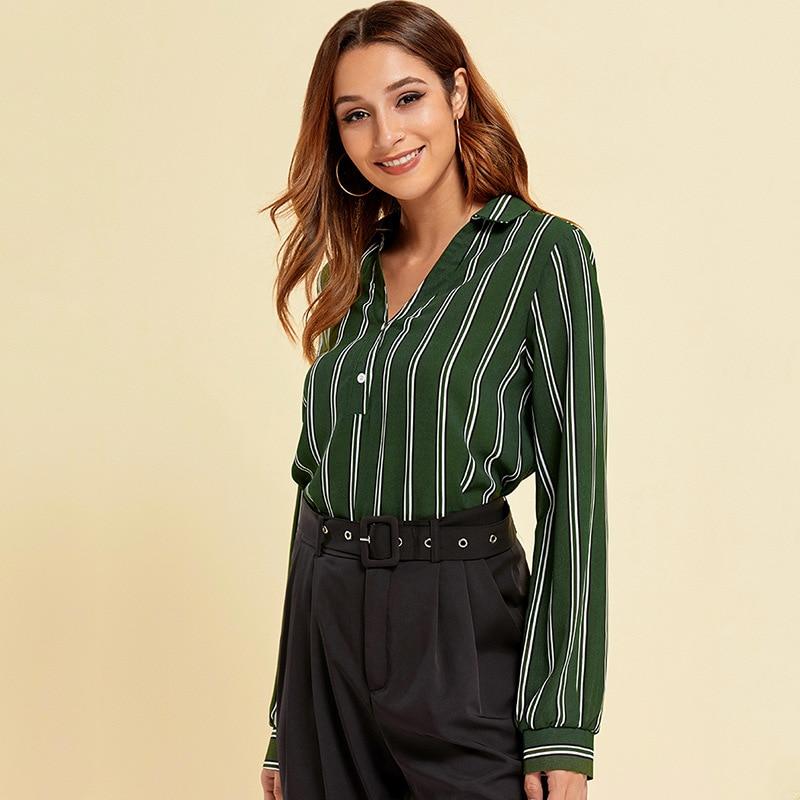 Heliar 2020 primavera raya blusa verde manga larga cuello en V botón señora Oficina camisa suelta elegante superior ropa de mujer