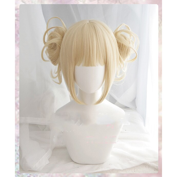 My Boku no Hero Academia Akademia Himiko Toga Short Light Blonde Ponytails Heat Resistant Cosplay Costume Wig+wig cap