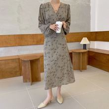 2020 été robe en mousseline de soie femmes robe midi coréen à manches longues impression florale col en v vestidos