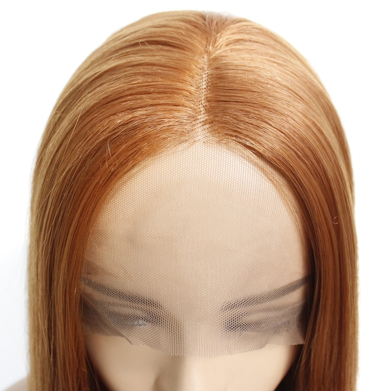 Natural Looking Fashion Medium Brown 30# Long Silky Straight Synthetic Wig Natural Soft Lace Front Wigs Heat Resistant For Women  - buy with discount