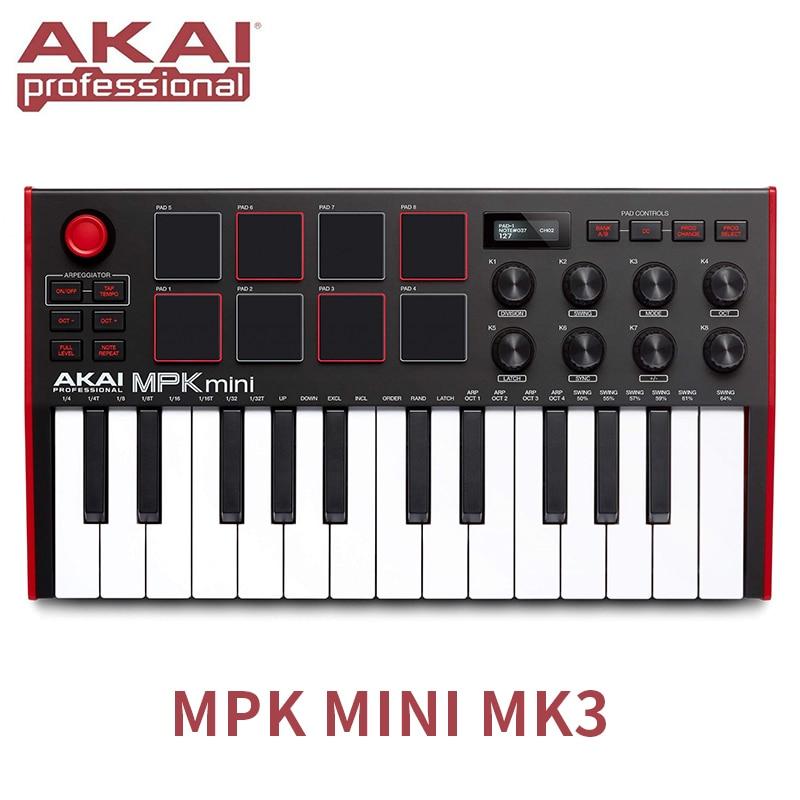 Akai المهنية MPK Mini MK3 - 25 مفتاح الترا المحمولة USB ميدي طبل الوسادة و وحدة تحكم بلوحة مفاتيح