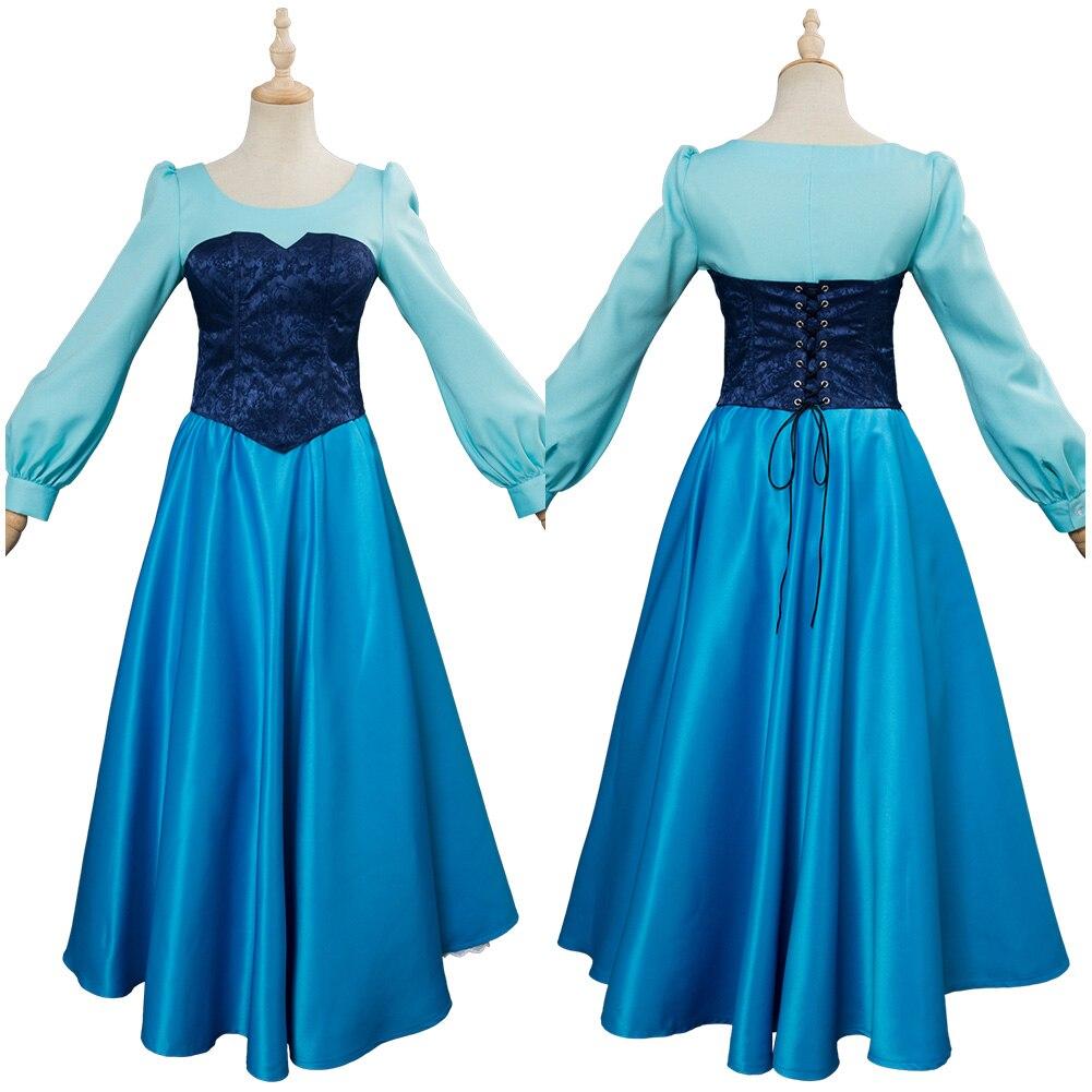 Vestido de Dança Feito sob Encomenda a Pequena Sereia Traje Cosplay Vestido Adulto Princesa Roupa Azul Halloween Carnaval