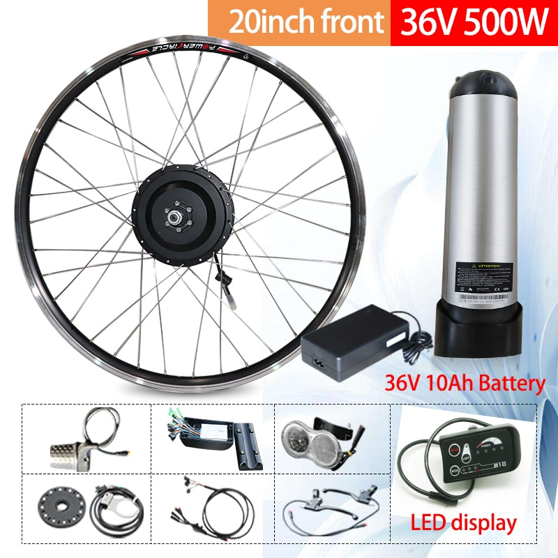 JS-Kit de conversión de Bicicleta eléctrica, Motor de 36V500W, batería delantera y...