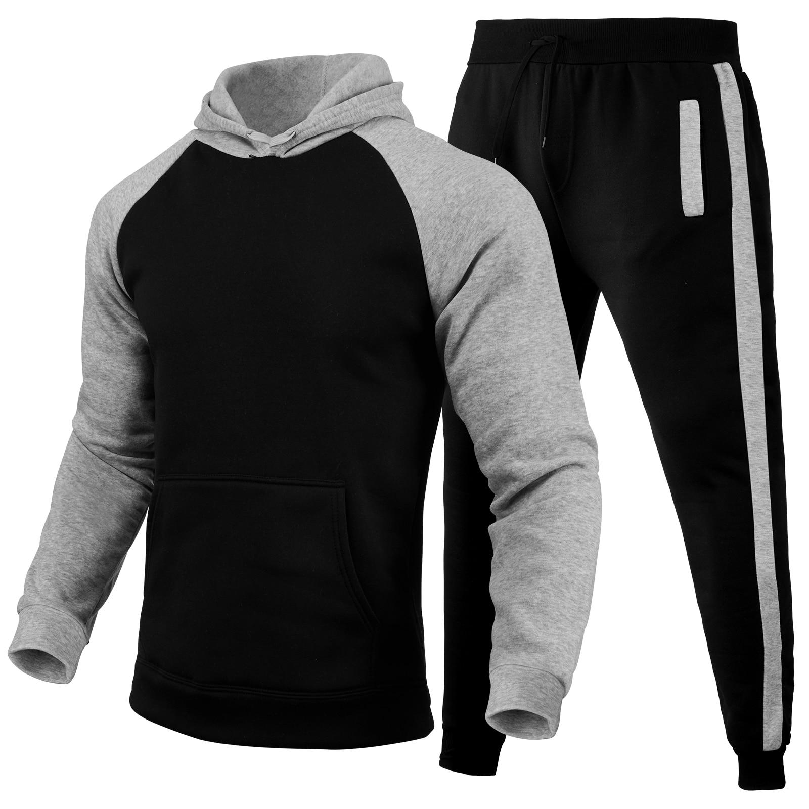 Мужская спортивная одежда 2 зимняя повседневная спортивная одежда с длинным рукавом с вращающимися манжетами толстовка + брюки спортивная ...