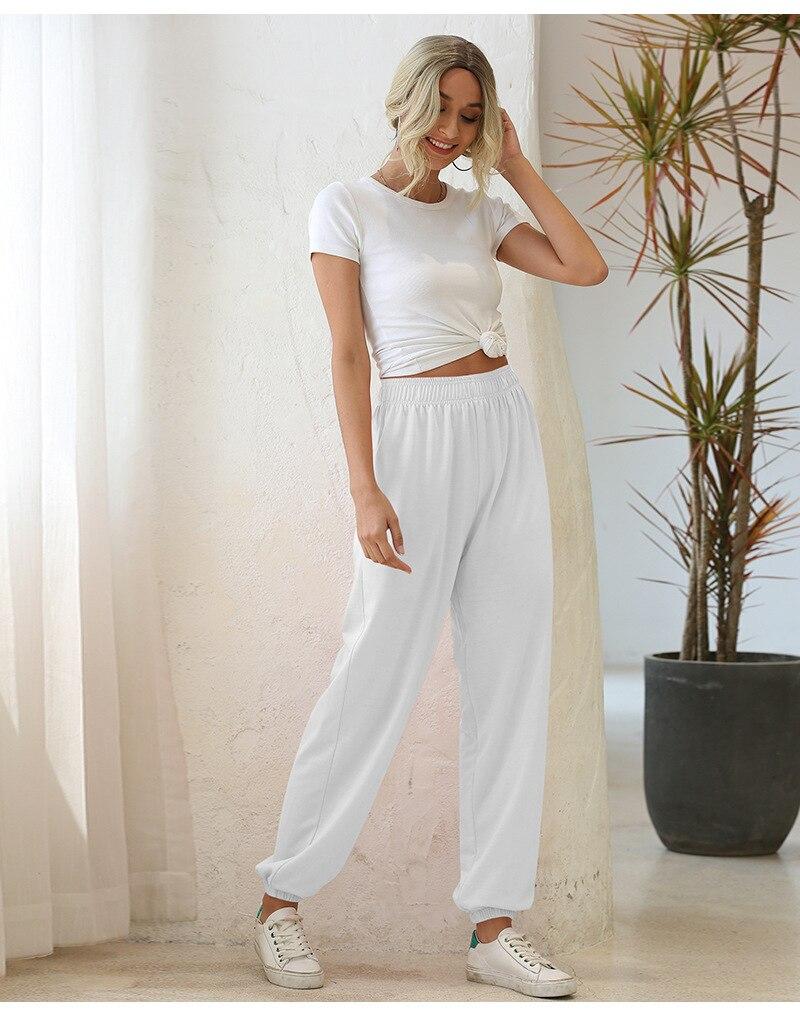 Homewear calças femininas 2020 primavera novo elástico de cintura alta senhoras calças soltas feixe casual pés calças femme preto branco