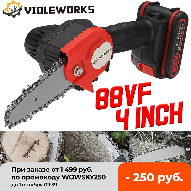 4 Inch 88VF 1080W Mini Electric Saw Chainsaw Wood Cutter With Rechargeable Battery Woodworking Pruning One-handed Garden Tool