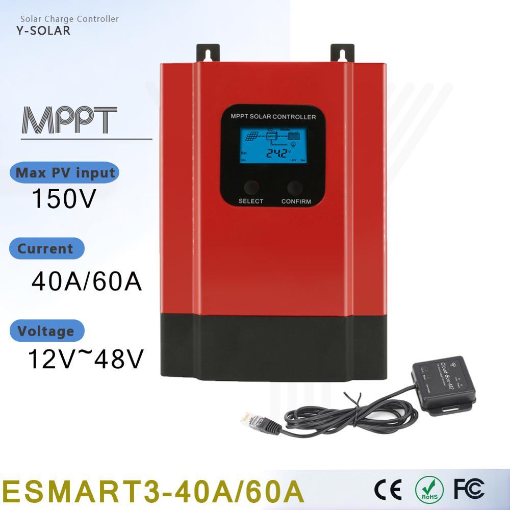 Y-sola MPPT 60A 40A الشمسية جهاز التحكم في الشحن 12 فولت 24 فولت 36 فولت 48 فولت السيارات الشمسية العادية لوحة بطارية شحن نموذج دعم Wifi Ble