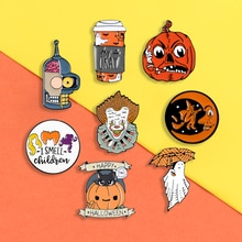 Halloween pins Cartoon Pumpkin enamel pins Gotham clown ghost Witch badges brooches Lapel hat bag  jackets pin Punk Jewelry gift
