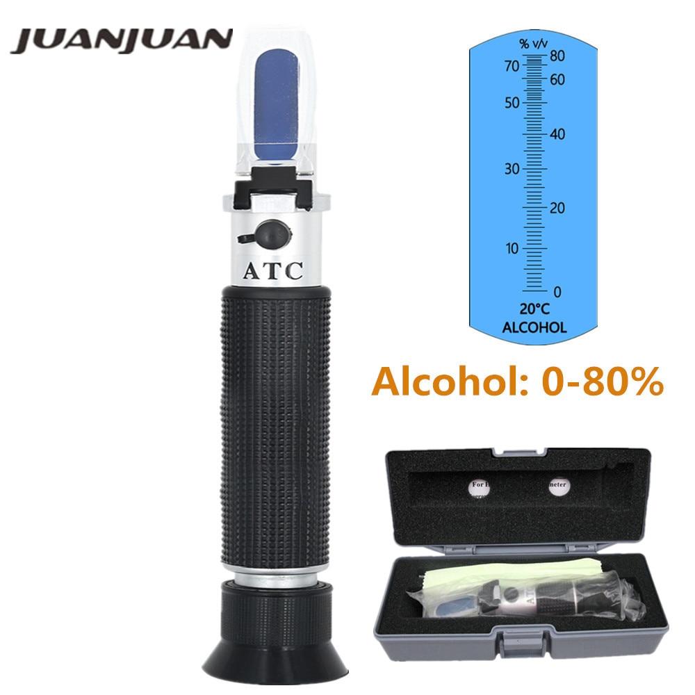 Handheld Alcohol Beer Refractometer Spirits Tester Alcohol 0-80% Portable Alcoholometer Adjustable Manual ATC with box