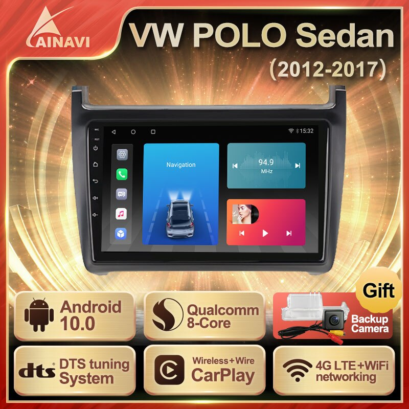 Car Radio Android 10 QLED Screen For Volkswagen VW Polo Sedan 2012-2017 Auto Stereo Multimedia Player Navigation Carplay No 2din