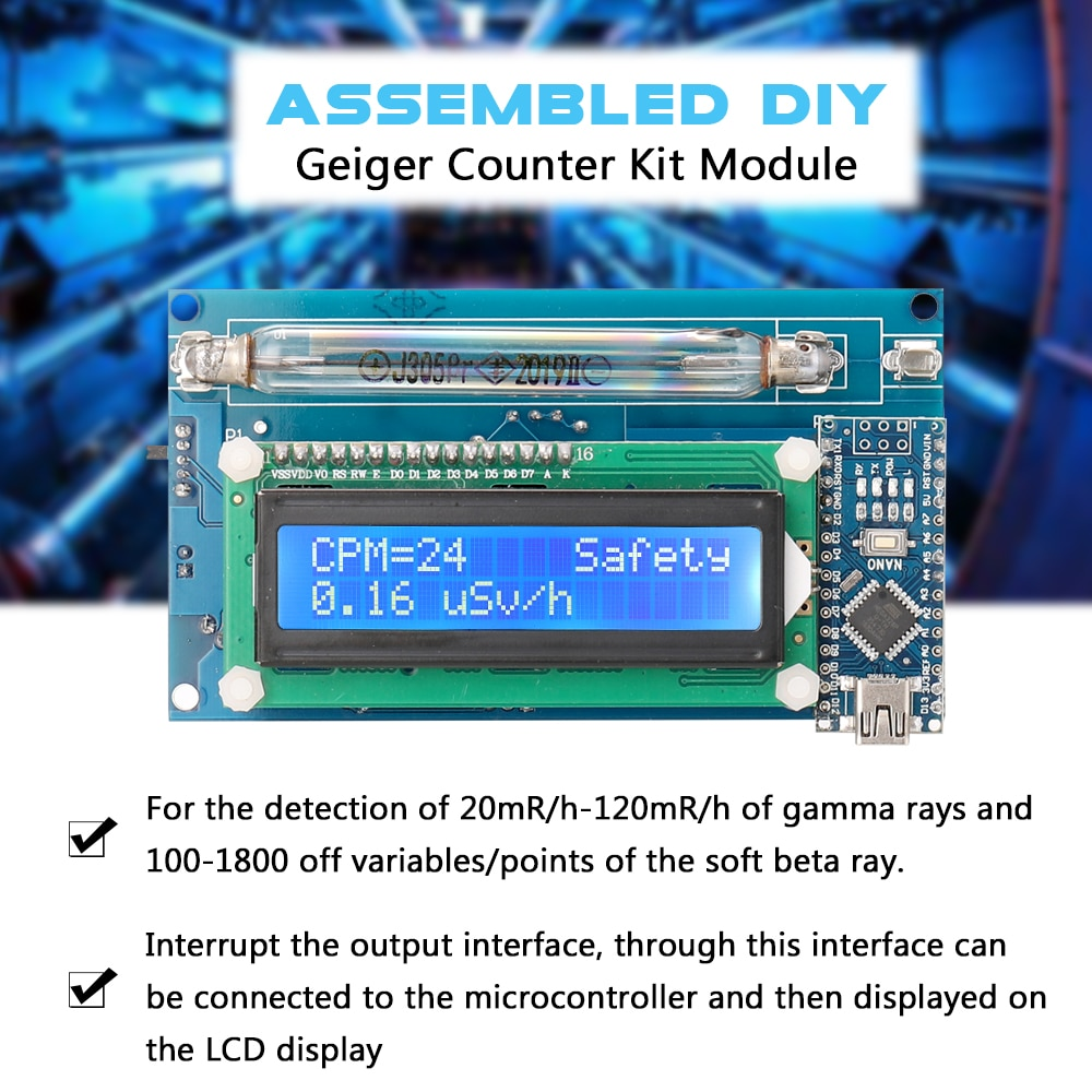 Kit de contador Geiger DIY ensamblado Detector de radiación Nuclear con pantalla LCD y Cable USB Arduino Nano