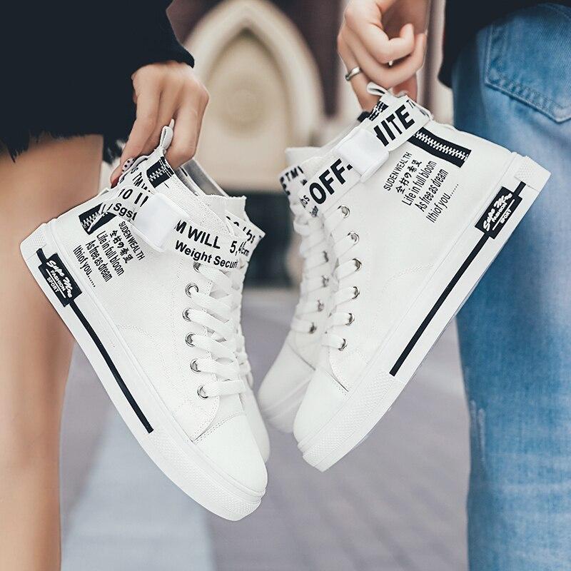 Lente High-Top Canvas Schoenen Mannen Alle-Wedstrijd Witte Schoenen Casual Sneakers Paar Schoenen Paar Kleine wit Ins Straat Schieten