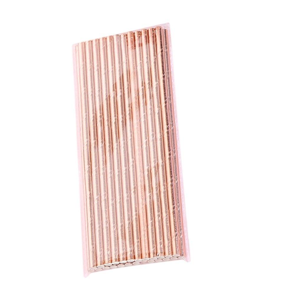 25 uds., papel rosa dorado, papel pipeta, raya de papel, pajillas de papel, papel de aluminio dorado, pajitas de papel con rayas plateadas, chevron
