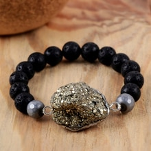 Raw Pyrit Charme Armband 10mm Volcano Perlen Armband Handgemachte Boho Naturstein Frauen Armband Männer Armband energie Geschenke