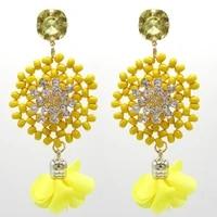 oorbellen handwoven wooden bead earrings fashion rhinestone earrings flower tassel drop earrings statement jewelry for women