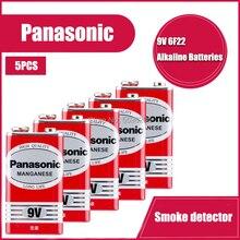 5 шт., щелочная батарея Panasonic 9V 6F22 для сигнализации, беспроводной микрофон, без ртути, длительный срок службы Батарейки      АлиЭкспресс