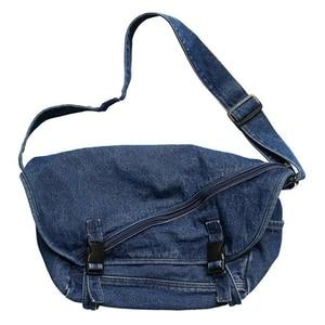 Washed Denim Tooling Messenger Bag Men and Women Personality Street Student Sports Shoulder Bag Dark Blue