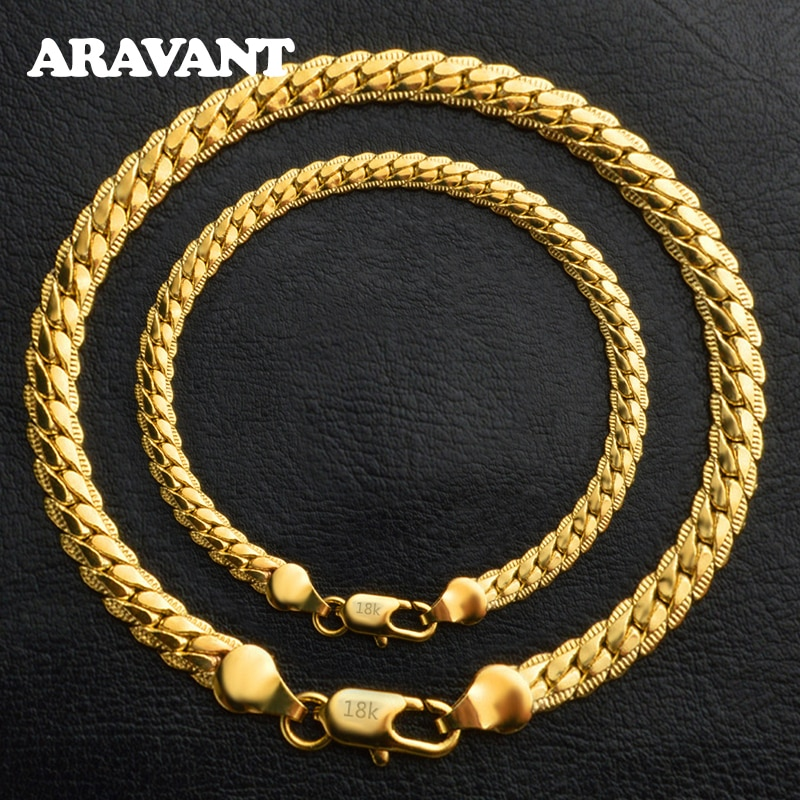 6MM Full Sideways 925 Sterling Silver Gold Necklace Link Chain Bracelet For Women Men Fashion Jewelry Sets Wedding Gift