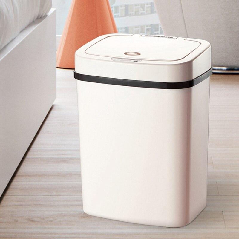 Sensor de inducción automático Rectangular porta bolsa de basura 12L basura y desechos papelera de coche Dump Compost 2xAA batería seca Trashcan Clean