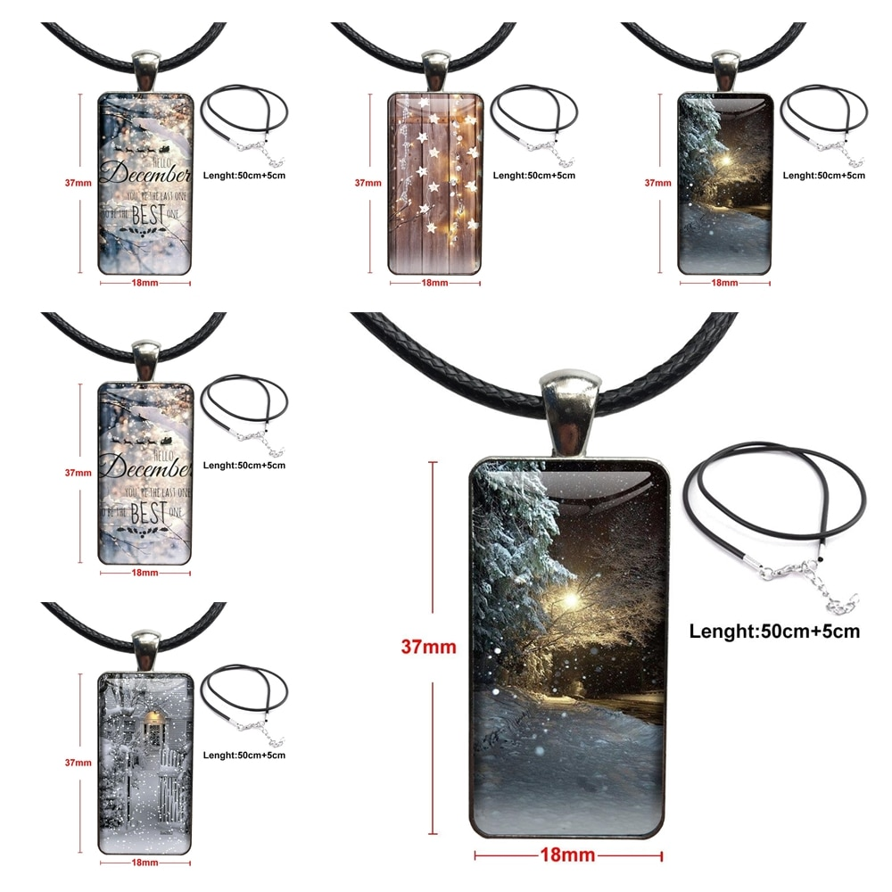 Landscape Winter Light Snow Type Fashion Necklace Handmade Rectangle Shape Choker Necklace Jewelry Multi Designs For Women Party