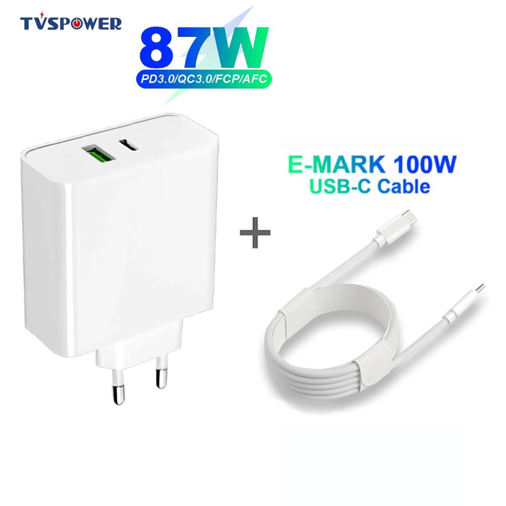 87 واط 65 واط USB-C محول الطاقة المحمول استبدال التيار المتناوب توريد شاحن ل ماك بوك اير برو 15 بوصة شاومي/هواوي/آسوس (USB-C كابل 5A)