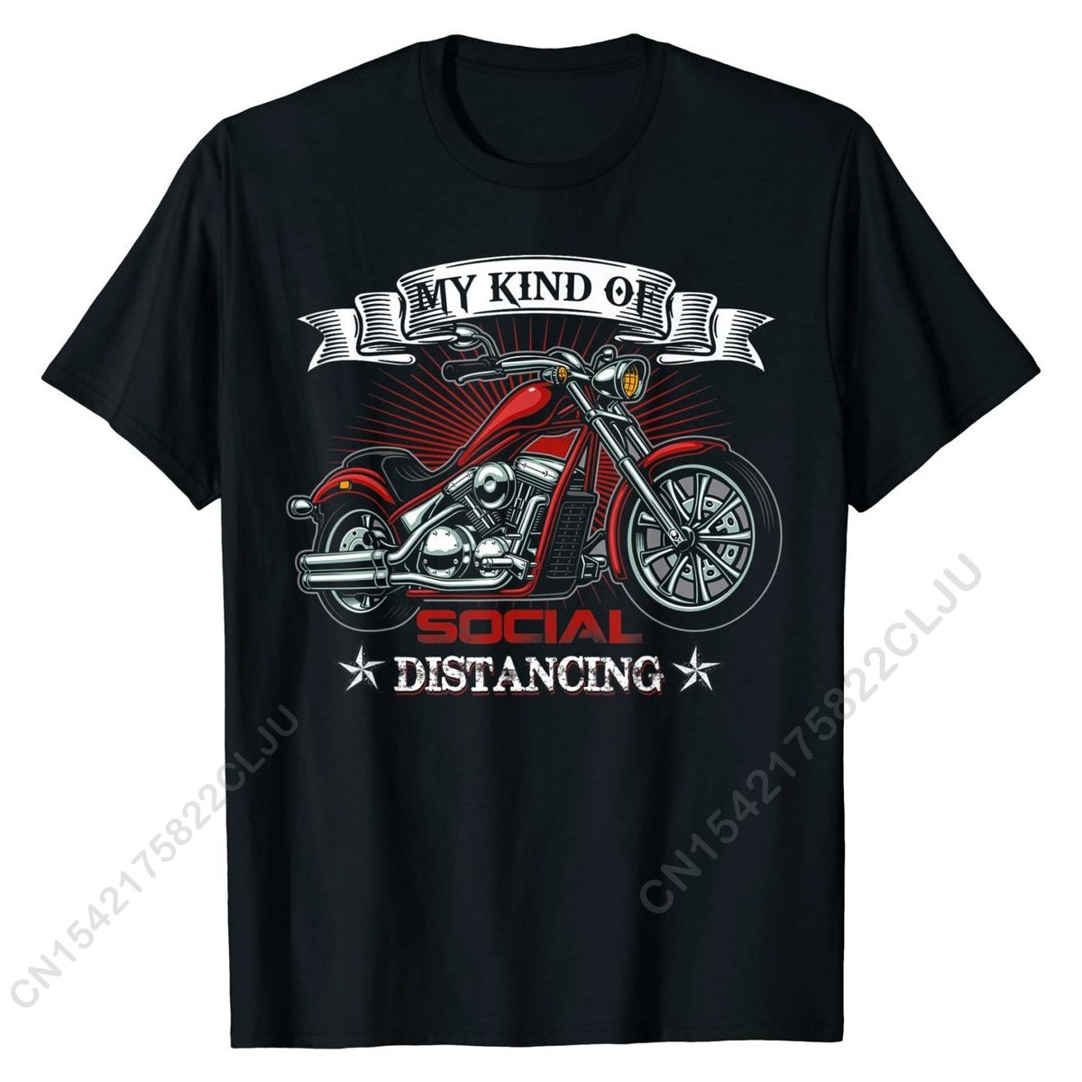 My Kind Of Social Distancing Funny Motorcycle Biker Quotes T-Shirt Cotton Tops & Tees For Men Summer T Shirt Custom New Coming