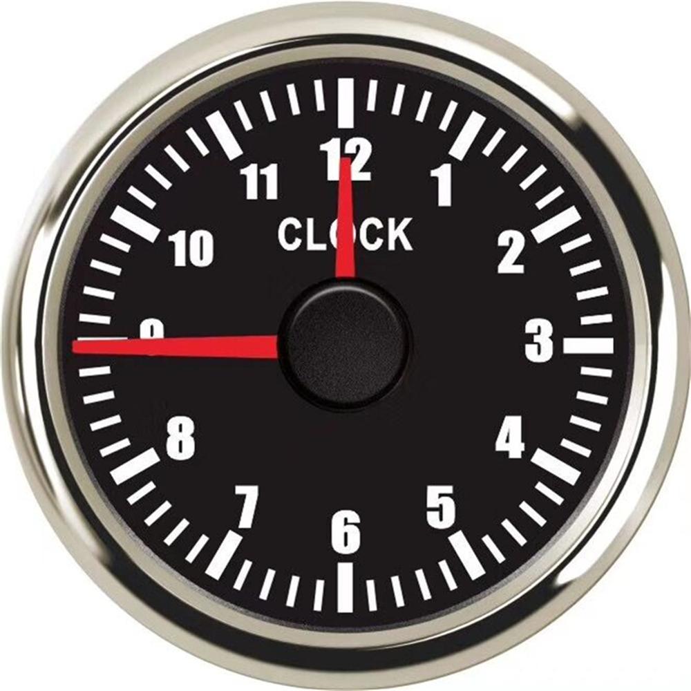 1pc 52mm Vehicles Clock Gauges 0-12Hours Clock Meters Marine Black Hour Meters Blue Backlight 9-32vdc Auto Devices