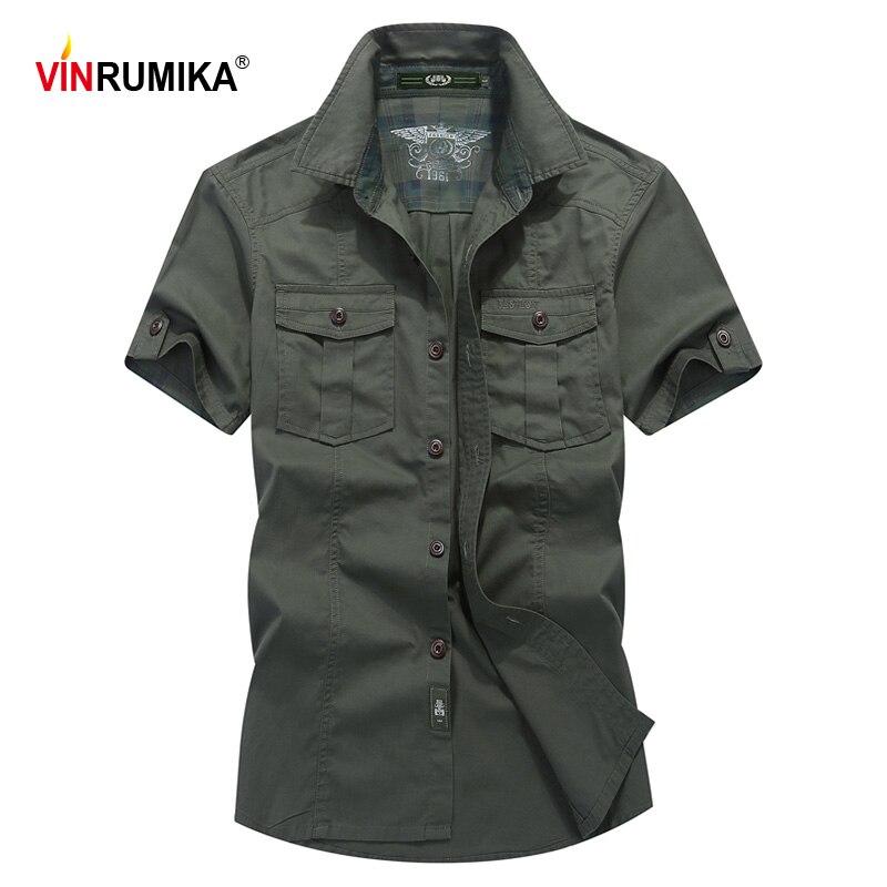 Plus size M-6XL 2020 verão europa estilo casual exército verde solto camisa de manga curta homem 100% algodão cáqui camisas 4xl 5xl 6xl