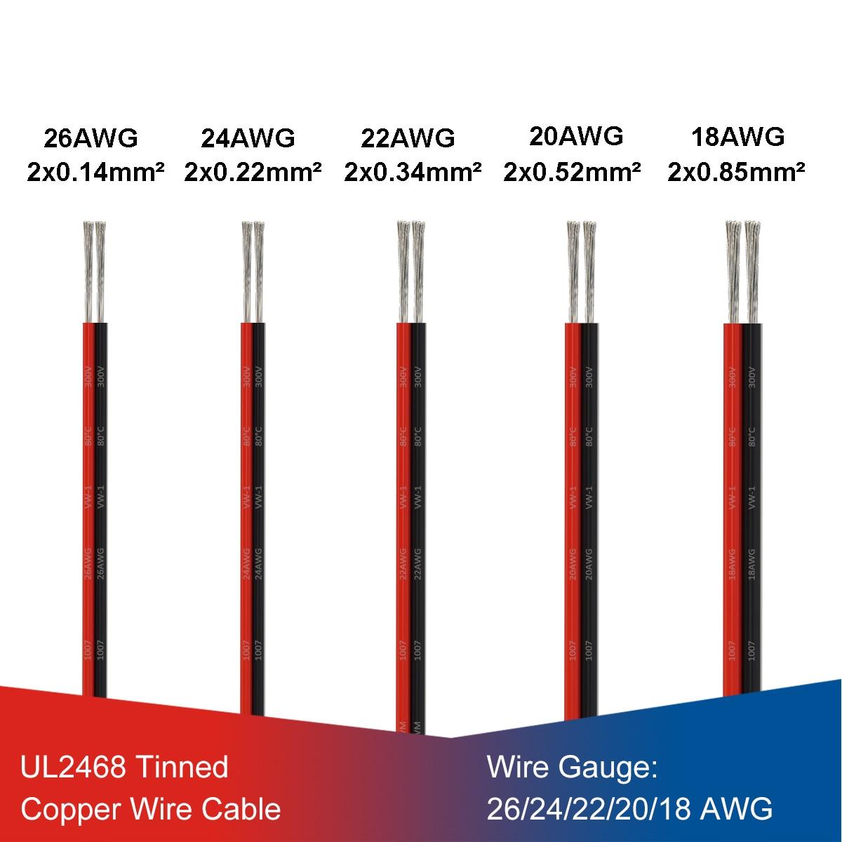 UL2468 2 Pin Elektrische Draden 2 Pin Draad Led Strip Kabel 28/26/24/22/20/18 awg Vertind Koperdraad Voor Led Elektronische Schakelaar Diy