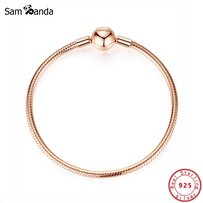 Original 100% 925 Sterling Silver Bracelet Smooth Clasp Charm Bead Bracelets Rose Gold Snake Chain Bangles Women DIY Jewelry