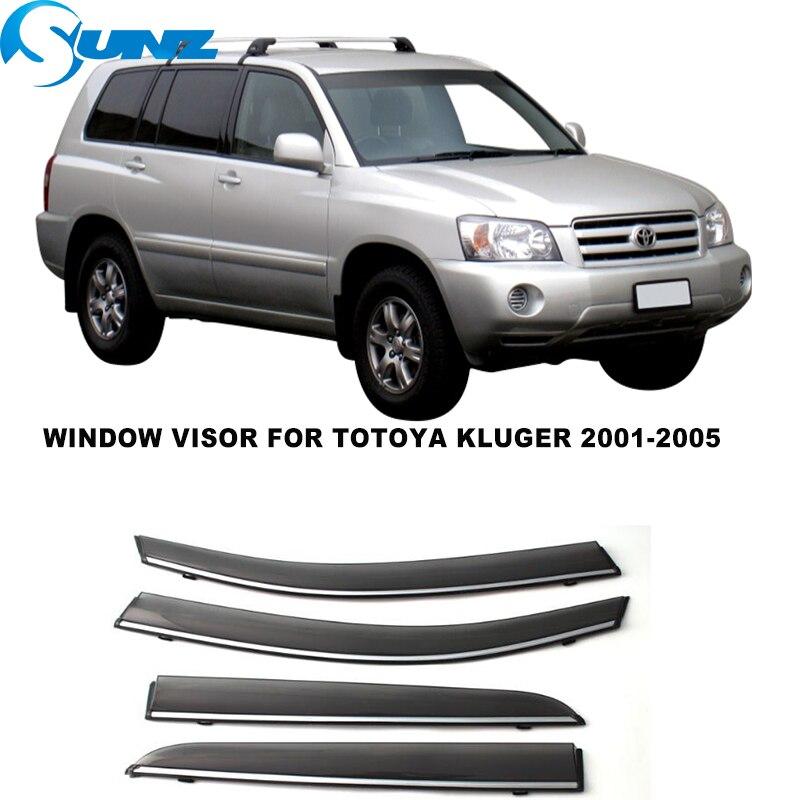 Side Window Deflectors For Totoya Kluger 2001 2002 2003 2004 2005 4PCS Window Visor Door Visor Rain Deflector Rain Guards SUNZ