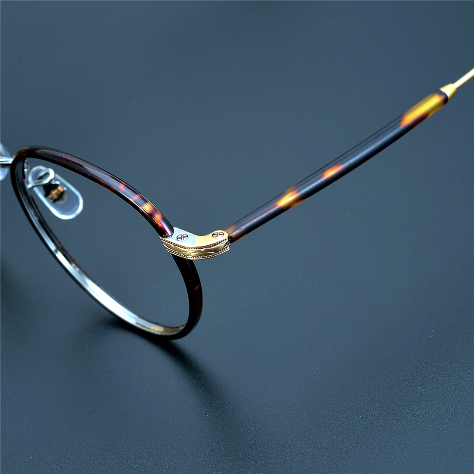 Limited edition Vintage Ultralight pure titanium eyeglass frame retro round Wil-son eyewear women men hand made original quality
