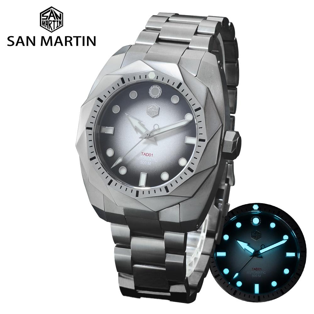 Часы San Martin Diver, полностью титановые, металлические, 50 бар, глубоководная водоворота SW200, автоматические механические мужские часы с сапфиров...