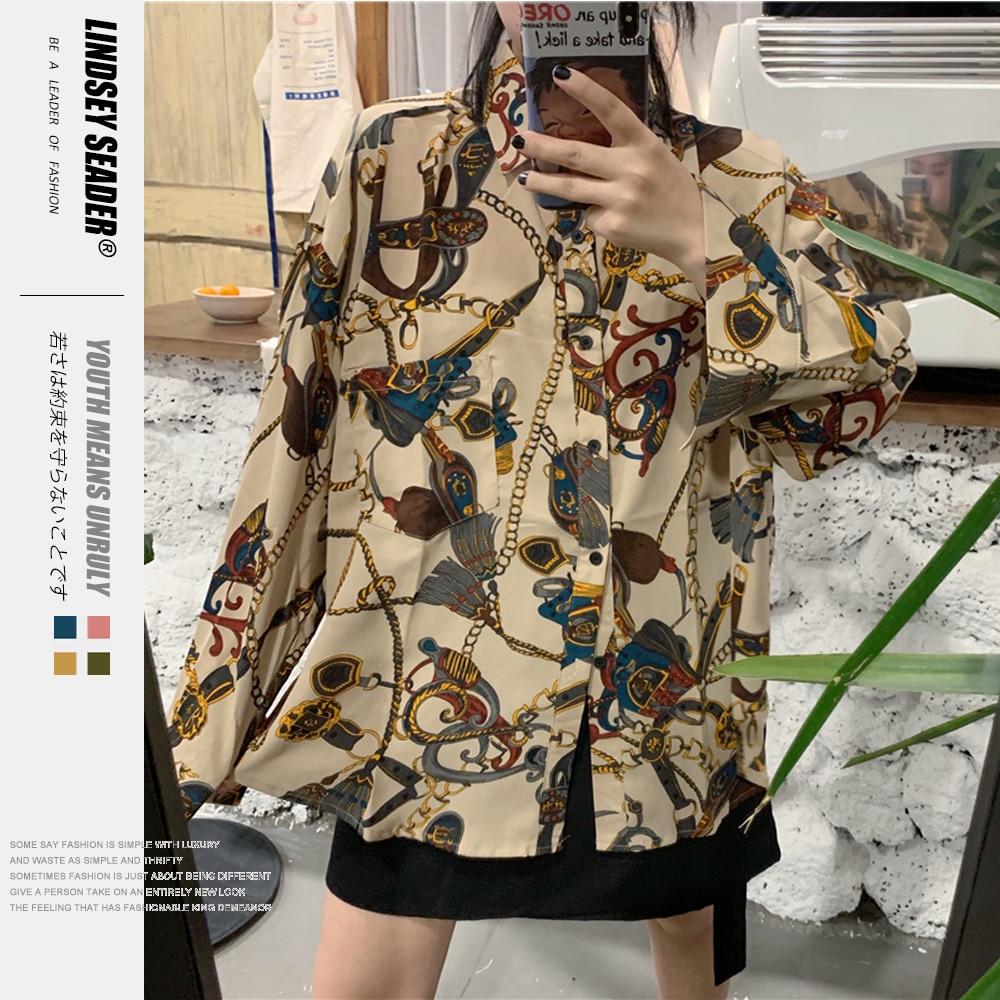 Women Mens Chains and Belts Print Long Sleeve Mens Shirts Fashion Casual Dress Shirt Hip Hop Hipster Buttons Streetwear Tops