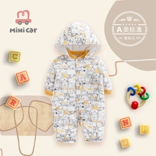 Baby's one piece clothes autumn winter male baby's hatchsuit climbing suit newborn's thickened warm