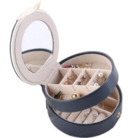 cute portable round mini jewelry box pu magnetic buckle travel earrings necklace ring storage case jewelry casket