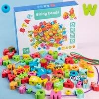 diy wooden fruit animal stringing toys montessori wooden beads baby educational toy children cartoon gift 100 pcs