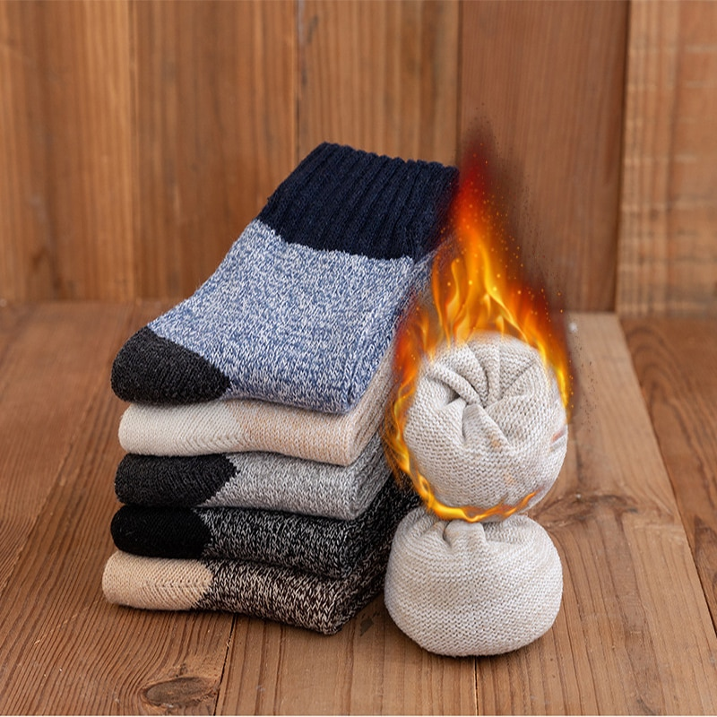 5Pairs Winter Men's Super Thick Warm High Quality Harajuku Retro Snow Casual Antifreeze Wool Socks Color block thick terry socks