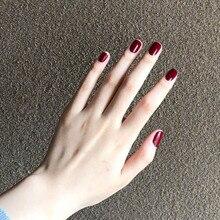 24 pièces élégant couleur Pure court faux presse sur ongles portable manucure décorations vin rouge court couverture complète faux ongles avec de la colle