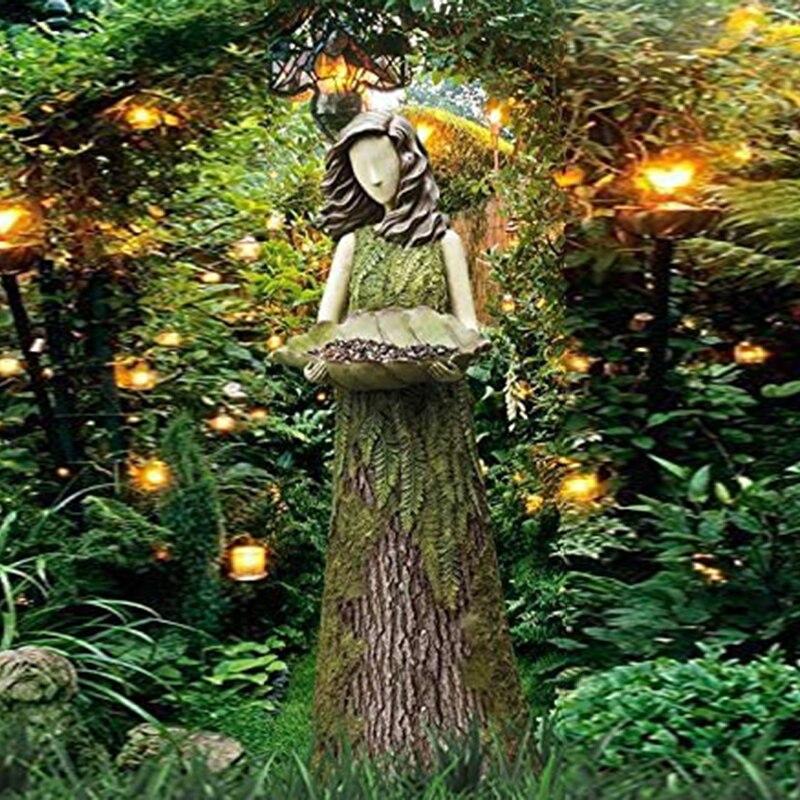 شيروود السرخس الجنية التماثيل مع الطيور المغذية الراتنج زخرفة في الهواء الطلق حديقة تمثال سوبر لطيف K888
