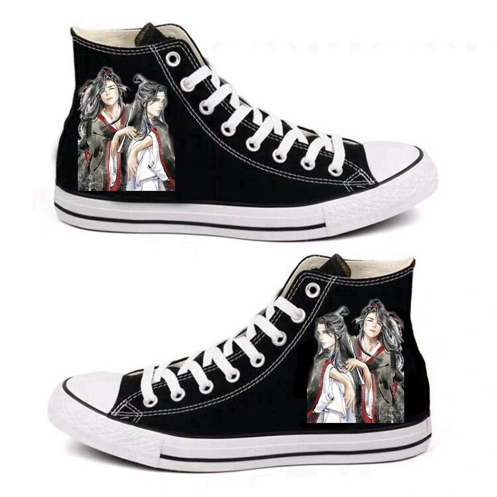 Black Unisex Anime Cosplay Mo Dao Zu shi Cartoon Cosplay Canvas Shoes Men Women Flats Lovers Caricature Fashion Student Shoes